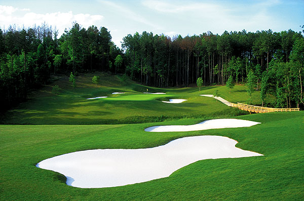 No. 8. Atlanta, Ga.                     Population: 5,017,397                     Median home price: $170,400                     Number of public courses: 92.5                     Median green fee: $46                                          THE GOLF: You've got the Bobby Jones trifecta: East Lake, Peachtree, and Atlanta Athletic Club. East Lake is one of the area's two PGA Tour sites, along with TPC Sugarloaf. There's also the Crabapple course at the Capital City Club, a former Tour host. With its high ranking for access to quality public golf, its many junior golf programs, a whopping 60 quality public courses, Hotlanta is sweeter than a peach for golfers.                                           THE REST: The capital of the South oozes charm like sausage gravy. It's the home of the civil rights movement, sweet tea and funky blues clubs. On perfect-weather summer evenings, locals can hit the lively restaurant scene and enjoy a cold one on one of the many awesome outdoor patios.                                          • Perfect Day of Golf in Atlanta                                          Tall pines and snow-white bunkers frame the water-fronted 13th hole at Bear's Best.