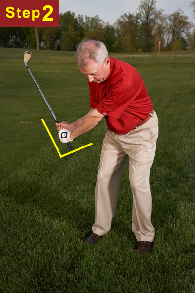 STEP 2                       On your backswing, hinge the club back quickly so that your wrists are fully-cocked by the time your hands reach your thighs.