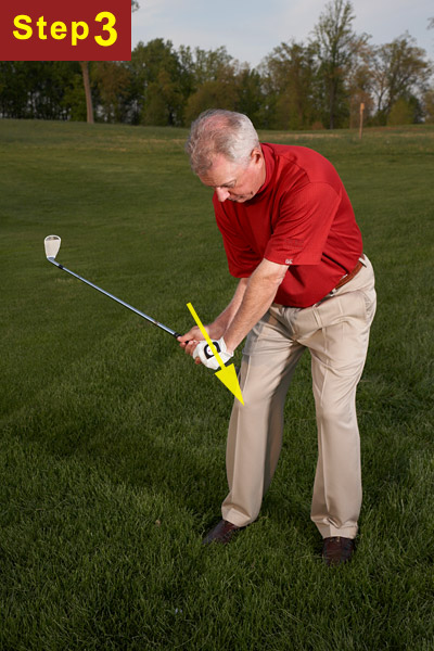 STEP 3                       From the top, swing down sharply with extra force. Feel like you're pulling the handle of the club down into the ball. Keep your legs quiet (notice how little they move between Steps 2 and 3).
