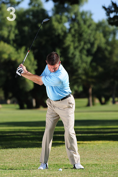 STEP 3                                          Make a three-quarter backswing with a lot of body turn. Even though you're turning, try to stay centered over the ball (notice the lack of sway to either the right or left).
