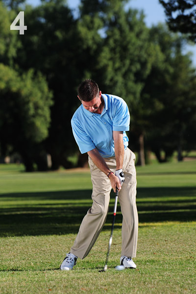 STEP 4                                          Turn back through the ball, avoiding any excess hand action. Make a few practice swings to check that the Vs of your grip, clubshaft and right shin all point at your left shoulder at impact. Get these positions right and you'll subtract loft from the clubface and hit the extra-low shot you need.