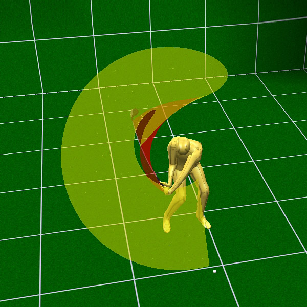 Sergio's Lag Creation                                          Everyone talks about the clubhead lag that Sergio creates in his downswing, but it starts in his takeaway when he stretches both arms as far as he can while making very little wrist hinge. This creates the widest arc possible. When he drops his hands to start his downswing, his arc goes from very wide [yellow shade] to very narrow [red shade]. It's this switch that gives him his trademark lag and sends his swing speed off the charts. — M.S.