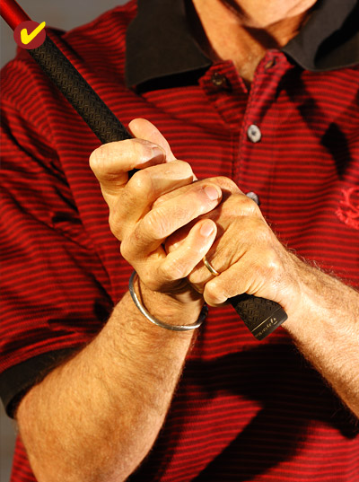 TRY THIS FIX                                          Switch to a double-overlap grip. Place your right-hand pinkie between the ring and middle fingers on your left hand, and your right-hand ring finger between your left middle and forefingers. Taking two right-hand fingers off the handle like this instantly puts your left hand in control, so there's less chance that you'll lift the club up with your right arm and set the shaft across the line.