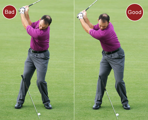 3. If you consistently slice the ball, you're tilting toward the target on your backswing. Your upper back will be closer to the target than your lower back once you reach the top.                                              FIX: Place a shaft in the ground on the opposite side of the ball at a 15-degree angle leaning away from the target. On your backswing, maintain your forward bend and move your chest even with the grip end of the shaft. This correctly tilts your upper back away from the target and eliminates the slice-causing reverse-pivot.