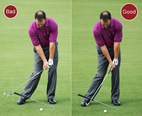 4. If you hit thin shots, you're not swinging down steeply enough into the ball or you're releasing the club too early in your downswing.                                              FIX: Stick a shaft in the ground sideways six inches in front of your left foot so that it sits at a 20- to 30-degree angle with the grip end pointing away from the target. Set up to the ball and make your normal swing using the shaft in the ground as a guide. You want the clubhead in front of the grip as it moves into the hitting zone. This means that you're bringing the club into the ball on a slightly steeper angle of attack. If it's behind the grip, your swing is too flat and you're in danger of catching the ball thin.