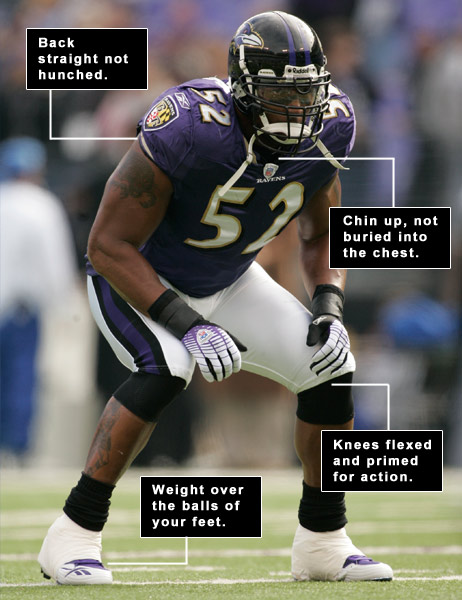 If you're... MAKING RIGID SWINGS                     You're... setting up unbalanced.                                          By Brady Riggs                     with David DeNunzio                     PICTURE THIS!                                          An NFL linebacker must be able to move in any direction in an instant. This critical need is reflected in the stance they take. In Ray Lewis's case, his knees are flexed with his weight over the balls of his feet. This prepares him to move dynamically, with nothing tense or static that might cause him to hesitate. Your golf swing requires the same ingredients.