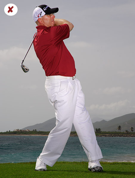 Failing to shift your weight to your left foot on your downswing is a surefire way to hit the ground before the ball.