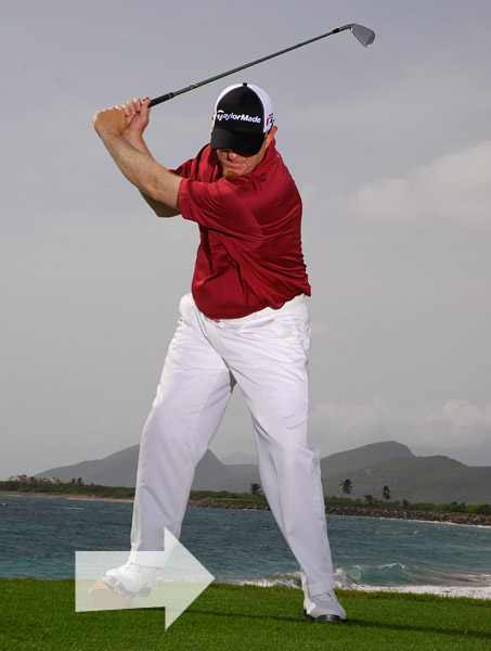 Make your everyday backswing, but on the way back down, push off the tee marker with your right foot and get your weight moving toward the heel on your left foot.