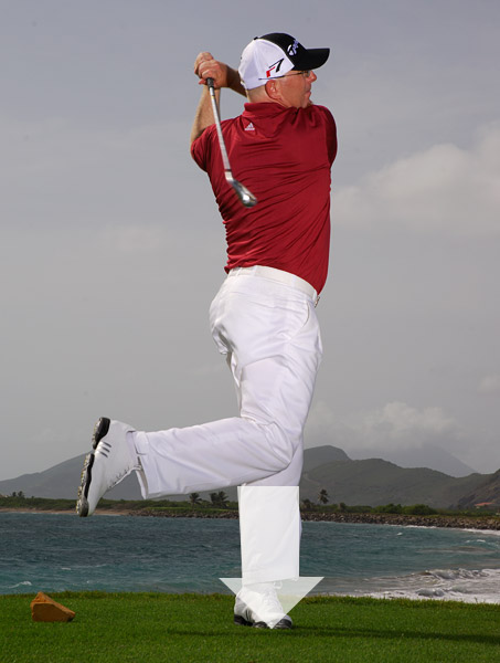 Exaggerate it to the point where you lift your right foot off the ground as you swing into your follow-through and finish. When you're on the course, picture the tee marker in your mind to remind you to make the needed shift in weight so you don't hang back and catch the ball fat.                                                                     THIS DRILL ALSO FIXES: Thin shots, slices, poor wedge shots                                                                     Have a rigid swing? Think like a football linebacker                                              Are you short off the tee? Think like a baseball pitcher                                              Are you an inconsistent ballstriker? Think like a football quarterback                                              Are you a slicer? Think like a baseball batter                                              Do you hit topped or thin shots? Think like a tennis player