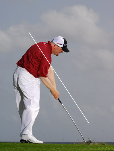 Now, swing back down to the ball, leading with your right elbow. After a few attempts, you should begin making consistent contact in the center of the clubface, and not on the heel or toe.                     THIS DRILL ALSO FIXES: Slices, hooks and weak hits.                                          Have a rigid swing? Think like a football linebacker                                          Are you short off the tee? Think like a baseball pitcher                                          Are you a slicer? Think like a baseball batter                                          Do you hit topped or thin shots? Think like a tennis player                                          Hit your irons fat? Think like a hockey player