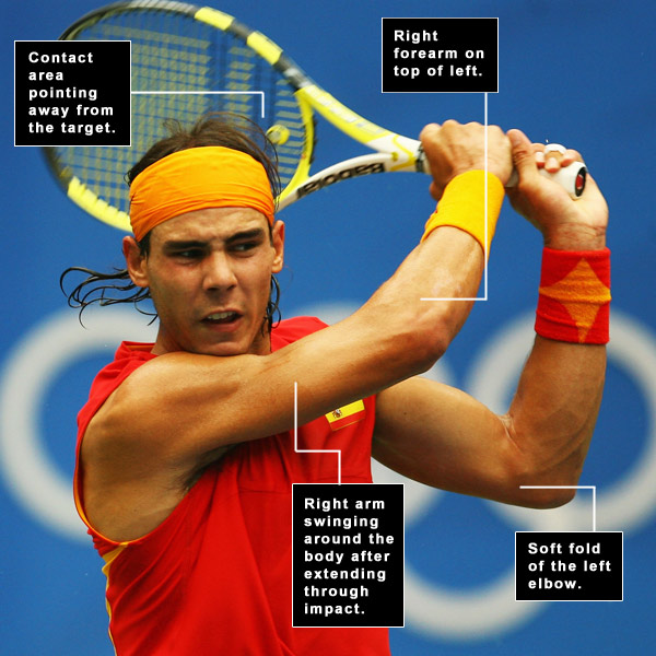If you... HIT TOPPED OR THIN SHOTS                                              You're ... bending your left elbow (chicken-winging) through impact.                                              By Brady Riggs                       with David DeNunzio                       PICTURE THIS!                                              If you caught any of the Grand Slam tournaments in tennis this year, you saw a lot of crushing, two-hand forehands from Rafael Nadal. If any tennis player allowed his left arm to chicken wing through impact, the ball would end up 30 rows up and to his right. The trick isn't to purposely straighten your left arm, but to extend your right arm and let your right forearm cross over your left. Do that and your left arm has no choice but to straighten and then fold so you can bring the club up into your finish. In tennis, this move gives you needed topspin; in golf it gives you draw spin.