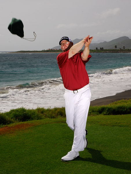 HOW TO STOP THIN SHOTS                                              An easy drill to feel these moves is to toss a bag of range balls (or an item of similar weight). Make a mock backswing, then try to toss the bag as far as you can straight out in front of you. You'll get the most distance when you swing your arms around your left shoulder and release the bag as your arms are pulled straight out toward the target by the force of your motion.                       THIS DRILL ALSO FIXES: Slices and weak shots.                                              Have a rigid swing? Think like a football linebacker                                              Are you short off the tee? Think like a baseball pitcher                                              Are you an inconsistent ballstriker? Think like a football quarterback                                              Are you a slicer? Think like a baseball batter                                              Hit your irons fat? Think like a hockey player