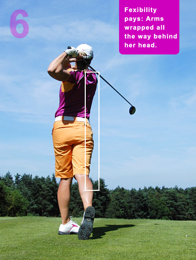 Try to copy the vertical arrangement of her right side, which you can only do if you turn your right side all the way through. This is a fantastic swing thought — it encourages a full finish and discourages quitting on the shot.