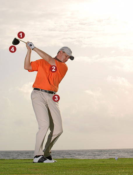 DON'T FORCE IT!                                          Bad things                     happen when                     you try to swing                     back farther                     than your right-shoulder                     flexibility                     will allow.                                                               1. Club off plane                     2. Loss of spine                     angle                     3. Reverse-pivot                     weight shift                     4. Open                     clubface