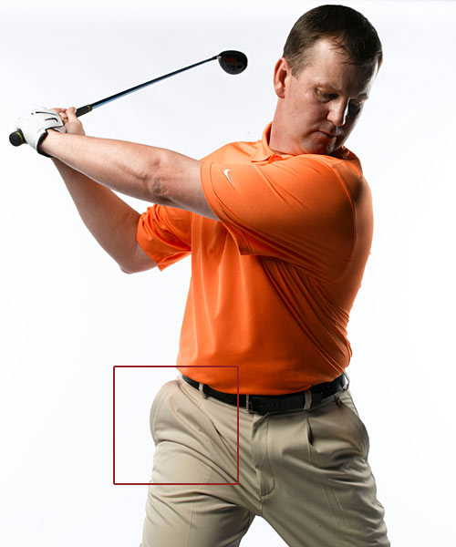 How to                       power up the                       easy way: Put your                       weight in                       your pocket                                              Turning your hips along                       with your upper body gets                       you correctly behind the                       ball, but it's critical that                       your turn also moves your                       weight to your right side                       so you can unload it into                       the ball when you swing                       back down. A foolproof                       way to accomplish this is                       to think of stuffing your                       weight in your right                       pants pocket as you                       bring the club to the top.                       You'll know you're doing it                       correctly if you feel a                       tightness in the front of                       your right hip (look for                       diagonal creases in your                       pants from the bottom of                       your zipper to your right                       pants pocket). If your                       weight moves outside this                       area you'll have a difficult                       time getting it back to                       your left side on your                       downswing. If it's inside                       this area, you never really                       transferred your weight                       at all.                       Step 3: Forget About Your Spine Angle