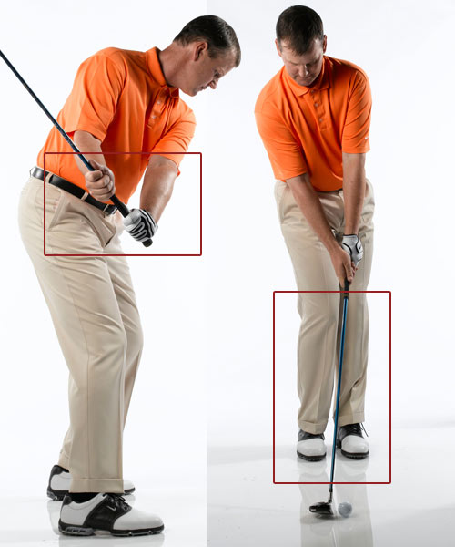 How to get                       away with                       losing your                       posture: Swing slower                       and more with                       your arms                                              Video: Test (and improve) your posture with overhead deep squats.                                                                     1. Practice                       with a                       split grip                       Make practice swings                       without a ball with your                       left hand on the grip and                       your right hand just below                       the grip on the shaft. Focus                       on pulling the club into                       impact with your left hand                       and rotating the face to                       square with your right                       hand. That's the proper                       hand action you need to                       deliver a solid blow.                                              Why the arm swing works                       An arms-dominated swing                       generates less force, which in turn                       makes it easier for you to maintain                       your posture when you swing. You                       might think this will cost you                       yards, but you'll actually hit the ball                       farther because you'll be delivering                       the club solidly into the back of the                       ball on the proper plane.                                              2. Make swings                       with your feet                       together                       You can hit balls with this                       drill. Take your regular                       address, but with your feet                       together. After a few swings,                       you'll learn to slow down your                       swing to a level that allows                       you to keep your balance. The                       speed that allows you to catch                       the ball flush without losing                       balance is the one you should                       use on the course.                                              Step 4: Release With Your Chest