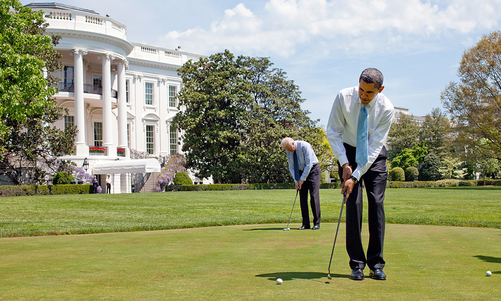 Obama practiced with the flatstick along with Biden on the White House putting green.