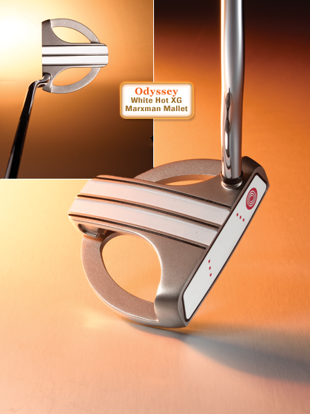 """CLUB                       Odyssey                       White Hot XG                       Marxman Mallet                                              CLUB SPECS                       $169, steel;                       odysseygolf.com                                              • Go to Equipment Finder profile to tell us what you think and see what other GOLF.com readers said about this club.                                              WE TESTED                       34"""" and 35"""" in                       steel shaft                                              COMPANY LINE                       """"The multi-layer insert                       has an elastomer                       core material that                       provides softness for                       great feel, and is                       highly resilient to get                       the ball rolling quickly.                       A thin outer striking                       surface is firm for                       fine-tuned                       responsiveness.""""                                              OUR TEST PANEL SAYS...                       Pro: Soft, yet 'clicky' face insert; enough                       feel and response for low handicappers and                       forgiveness for higher ones; white stripes                       with three alternating black sight lines make                       it easy to pick your line and promote a                       straight-back-and-straight-through putt;                       putts snap off the face; dampens vibrations                       associated with off-center contact; light                       overall feel given its size.                       Con: Very easy to make a good stroke but                       doesn't have that 'swings itself' feel;                       noticeable drop-off on mis-hits.                                              """"Visual aids help you see a square                       face at impact."""" — Chris Klamkin (2"""