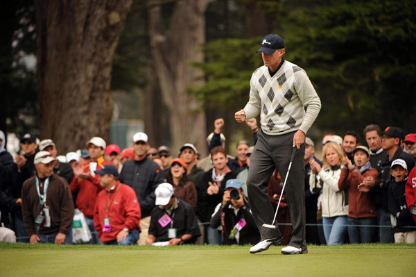 Tiger Woods was along for the ride as Steve Stricker used a hot putter to make seven birdies in a 4-and-2 win over Y.E. Yang and Ryo Ishikawa.