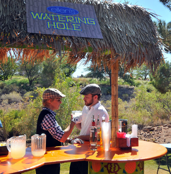 """DeGeneres and Timberlake retreated to """"Ellen's Watering Hole"""" behind the first green."""