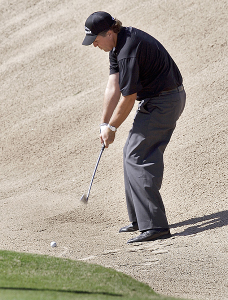 Phil Mickelson's four bogeys and three birdies put him at one over par.