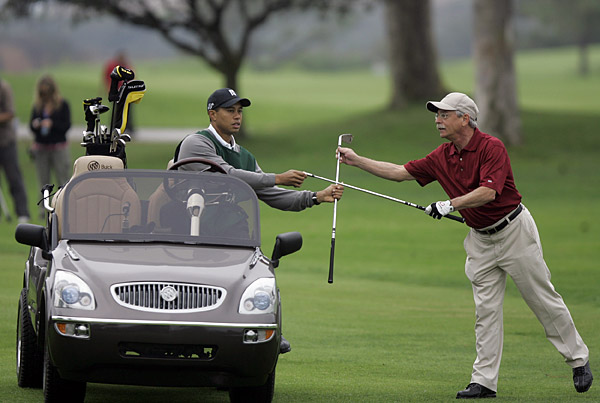 Abel only played the back nine with Woods driving along in a customized cart.