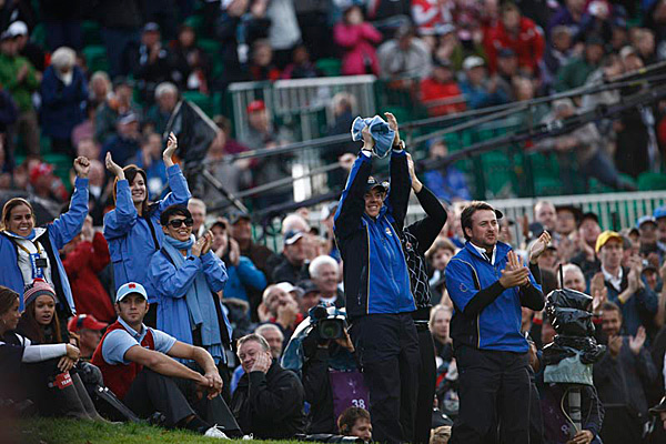 Many players followed their teammates around once they finished their own matches, such as Graeme McDowell, Rory McIlroy and Dustin Johnson.