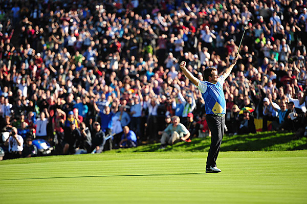 Traditionally, the Ryder Cup is a three-day event that concludes on a Sunday. For the first time, it ended on a Monday because of the epic rain that turned Celtic Manor, an American-style course on the outskirts of Cardiff, into a mud bath.In the end it came down to the last twosome on the course, Hunter Mahan vs. Graeme McDowell of Northern Ireland. McDowell, the U.S. Open winner, holed putts from odd places and played with a brio that brought to mind Seve Ballesteros, defeating Mahan on the 17th hole. The Euros secured an exciting, well-played, 14.5-13.5 victory.
