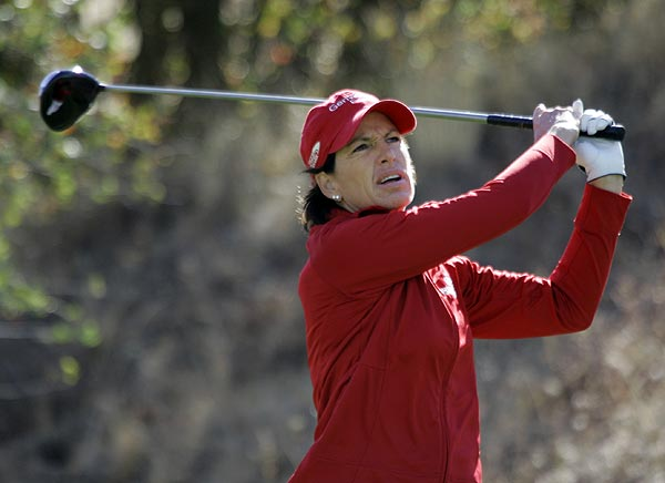 Back-to-back double bogeys on holes 5 and 6 left Juli Inkster at two over par for the day.