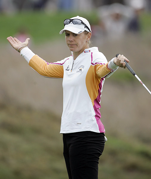 Annika Sorenstam continued to struggle, shooting a three-over 75.