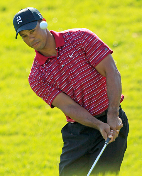 Woods closed out his round with a birdie at the par-5 ninth.