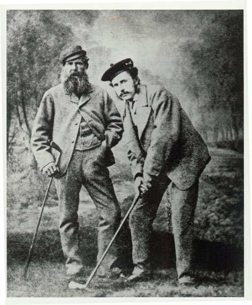 Robertson, history's first golf professional, was the dominant player of his day. He enjoyed a prosperous business in St. Andrews making expensive clubs and featherie golf balls, and Morris, left, with Young Tom Morris, served under him as apprentice and then journeyman. In 1848, Robertson caught Morris experimenting with the newfangled gutta-percha ball and banished him from his shop. Three years later, Morris moved to Prestwick, in the West of Scotland, only returning home after Robertson's death in 1859.Old Tom Morris vs. Allan Robertson                       Old Tom Morris was, well, old, but Allan Robertson had senior status. Widely regarded as the history's first golf pro, he ran an equipment shop where Old Tom worked. Colleagues off the course, the two made a frequent and formidable team in challenge matches. But they had a falling out in 1851, when Robertson fired Morris after spotting his apprentice playing with a guttie percha ball -- a rival product to the featherie balls that Robertson sold. Morris moved to a post at Prestwick, and the rift between the two men never healed.
