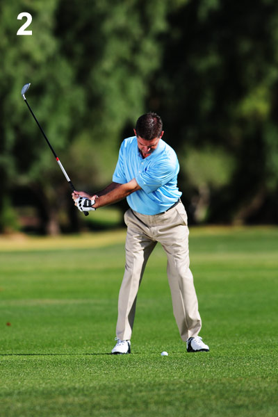 2. Hinge quickly during your backswing to ensure a steep angle of attack.