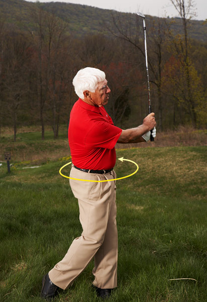STEP 3                                              Turn your body through the ball and swing through to a finish that's a mirror image of your backswing: hands waist high and the shaft pointing straight up. This will help you create a more consistent result and add feel to the shot.