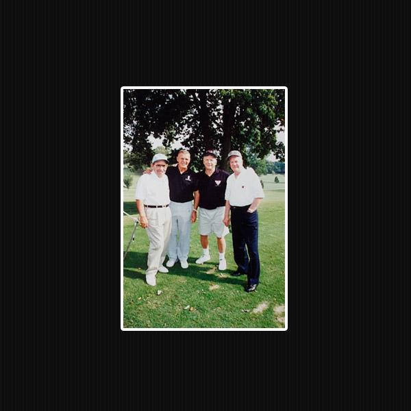 Yankees Yogi Berra, Bill Skowron, Mantle and Hank Bauer at Shangri-La, 1992.