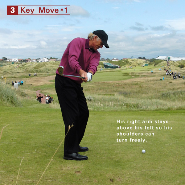 3. His club continues to move inside and his right elbow remains higher than his left. It's his secret way to make a full, 90-degree shoulder turn without changing his posture. Perfect.