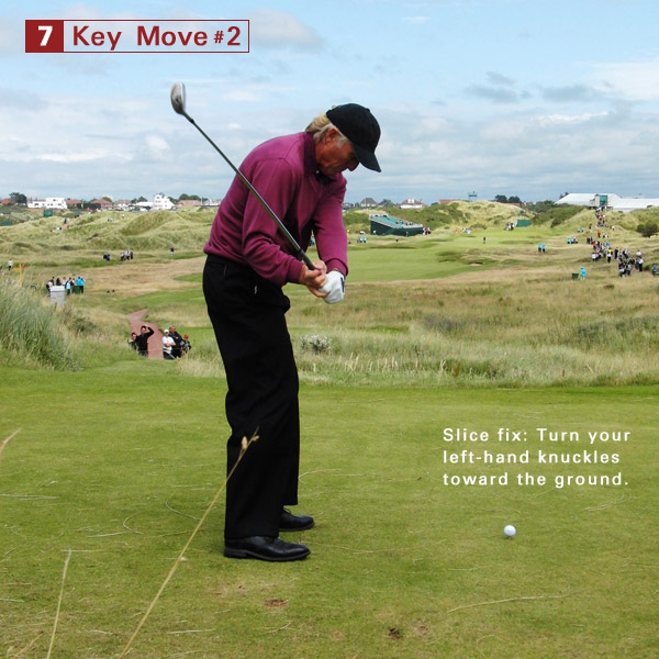 7. Notice how his left hand is starting to bow with his knuckles turning toward the ground. This is a great move to copy to help square up the face at impact and prevent a slice.