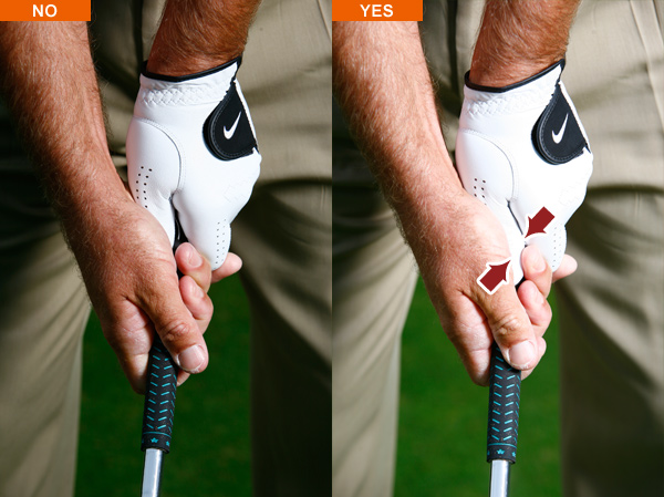How to Check for a Perfect Grip                       Use these three keys to secure the most solid fundamental of all                       This story is for you if...                                              • You're an inconsistent player but never think about your grip                        • Your approach shots often miss short and right                        • You lack any real power                                              The problem                        You feel like you're never in control of the clubhead.                                              Why it's happening                        You're not gripping the club correctly.                                              How to fix it                        There's more to taking your grip than pointing the Vs formed by your thumbs toward your shoulders. You must establish consistent pressure in the right spots to properly set the club and control it from start to finish. Take your grip and make the following three pressure checks. Get them right and you'll hit shots with maximum control and power.                                              Grip check #1                                              Look at the top of your grip. You shouldn't see any voids between the thumb and forefinger on each hand. If you do, pinch those digits together. Pressure there ensures a more connected grip and greater control of the clubface.