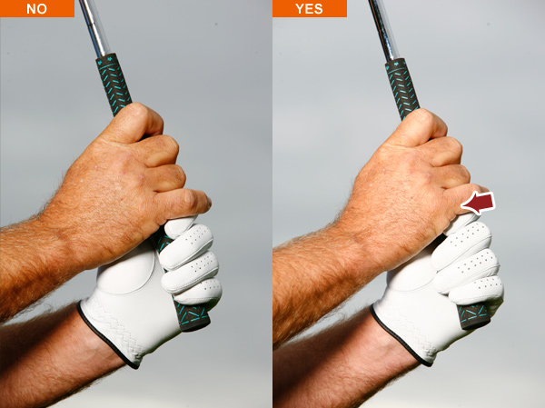 Grip check #3                                              Hinge your club over your right shoulder and check your right-hand pinkie finger. Whether you use an overlapping or interlocking grip, make sure your right pinkie is applying downward pressure on your left hand rather than simply resting on top of it. Just that little bit of pressure unifies your hands.