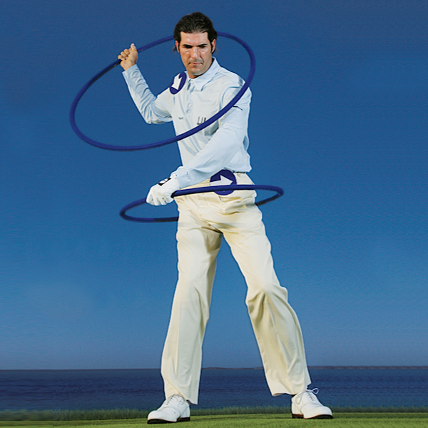 HOW IT WORKS                       Spin the wheels                                              What makes the O-Factor work--what keeps you on plane in your downswing--is matching the shape of your hip turn with your shoulder rotation. Once your hips start, your right shoulder moves down (not across). It continues down until your hands reach the hitting zone, and then it spins to the target.                                              Picture the wheels                                              Top: Stripped to its bare elements, your downswing is fueled by two wheels.