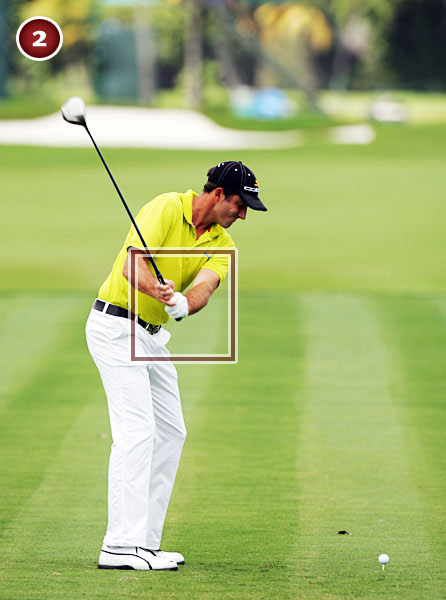 In his takeaway,                       Ogilvy engages his                       wrists and hands,                       setting the club very                       early. This move is                       consistent with a swing                       that's dominated by hand                       action, and it makes sense                       for his wiry frame.