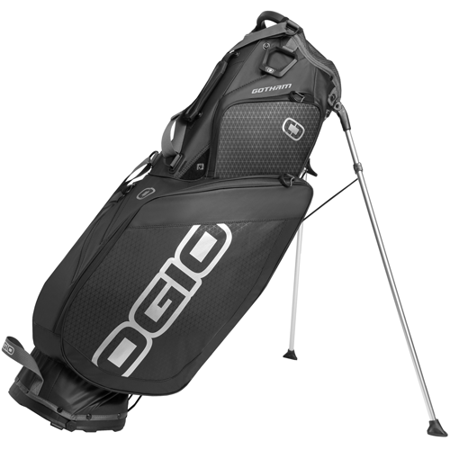 Ogio Gotham Stand Bag ($240; Buy Now):                     Weighing in at less than four pounds, Ogio's newest stand bag features a reduced number of external zippers create a sleek look, six interior protected pockets and a cool matte black finish.