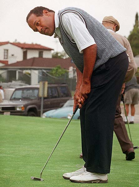 Name: O.J. Simpson                     Profession: Former pro football player, current resident of Lovelock                     Correctional Center in Love Lock, Nev.                     Gives Golf a Bad Name: Joined threesomes at public Los Angeles-area                     golf courses after civil jury found him liable for death of ex-wife                     Nicole Brown Simpson and Ron Goldman; used practicing his chipping as                     his alibi in those deaths.