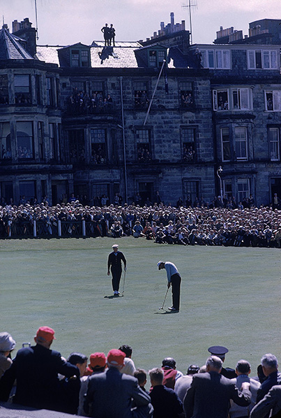 "4. St. Andrews (Old Course), St. Andrews, Scotland: Palmer single-handedly revived the stature of the British Open as a major championship when he chose to compete in the 1960 edition here. Convinced that the modern Grand Slam was worth pursuing, he made the trip and just missed winning, failing by one shot to Australian Kel Nagle. ""I'll keep coming back until I win this championship,"" vowed Palmer. The Scots embraced him as they had Bobby Jones, and the British Open soon regained its status as a legitimate major."