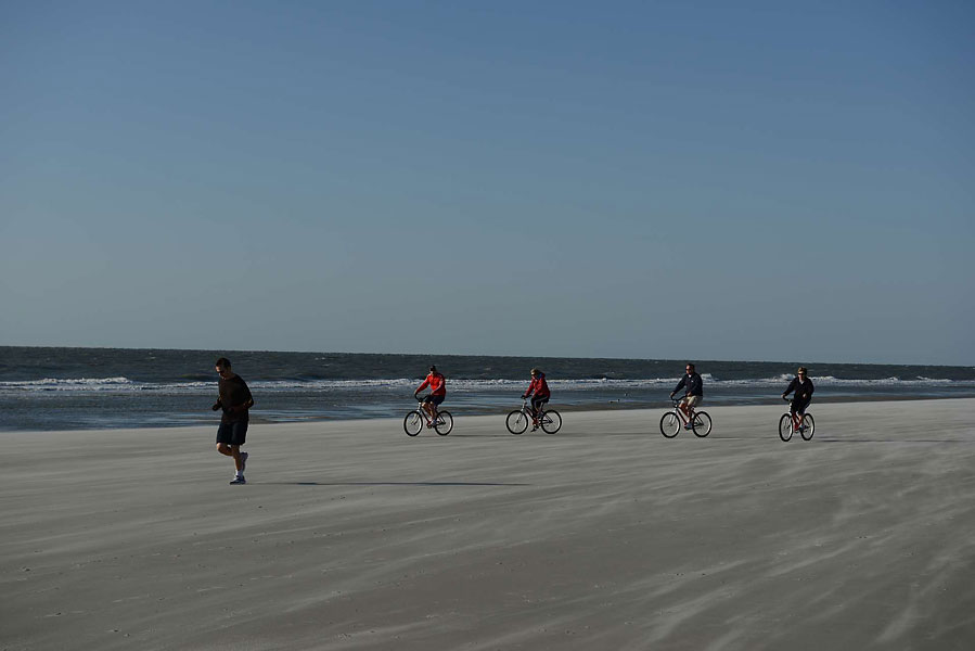 Pushing against a strong early morning wind along the beach is great exercise for cyclists and runners.  Most of the hotels and a number of outfitting companies rent beach, and other, bicycles, and the beaches are hard-packed and very wide.  One of the more popular outfitters is  hiltonheadoutfitters.com