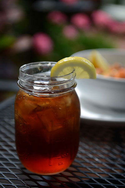 Southern sweet tea served in a mason jar at the Backyard Restaurant. For more information visit hhbackyard.com