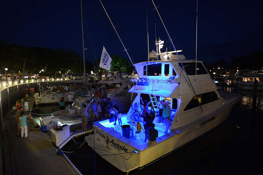 After the sun sets, things get a little crazy in the marina. This was the scene on Robert Allenby's boat, C'mon Aussie.