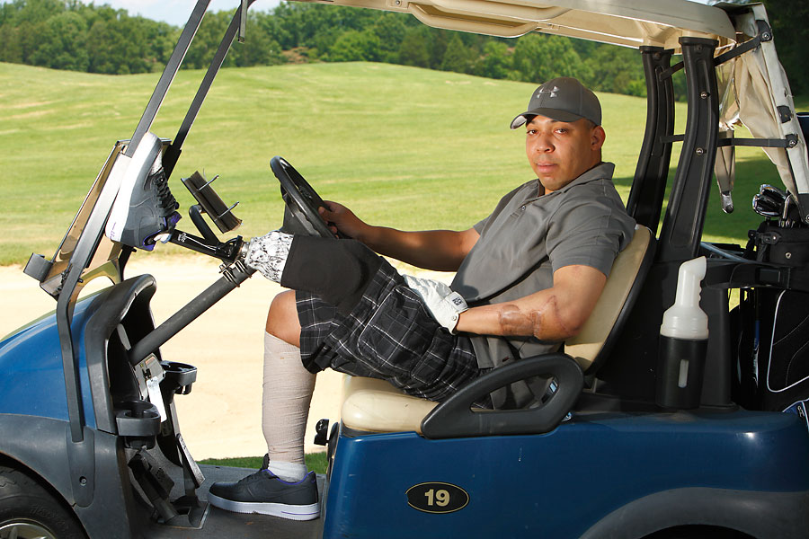 With equipment, instruction and plenty of encouragement, golf manufacturers are helping Wounded Warriors get their lives in order. Austin Murphy recently told some of these solders' stories in Sports Illustrated, and here are some of his subjects. Marine Capt. Antoine Bates, above, isn't simply playing golf, he's getting better at it.