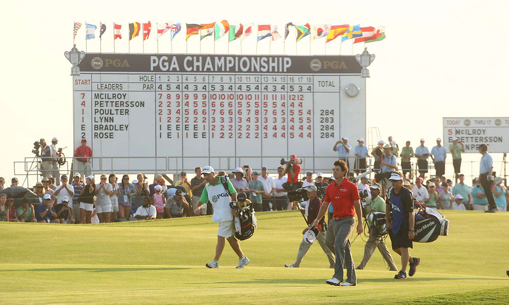 Walking up the 18th fairway, McIlroy had a seven-shot lead.