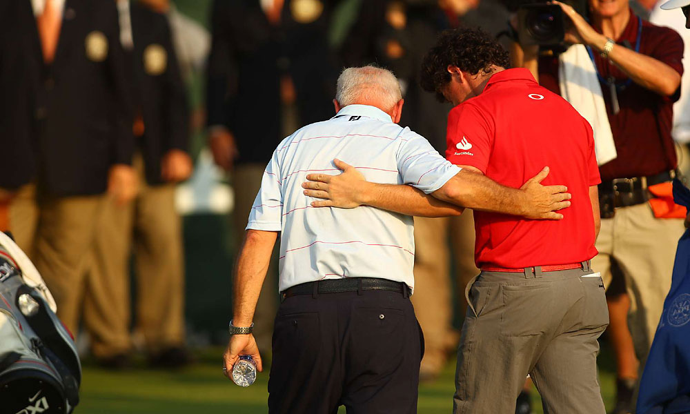McIlroy was joined by his father, Gerry, on the 18th green.